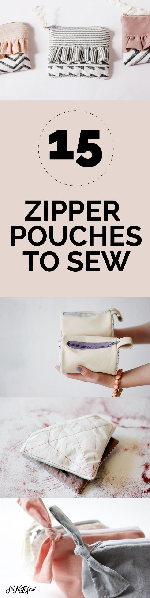 15 Zipper Pouch Tutorials. For more Free DIY Bags and Purses, head to http://www.sewinlove.com.au/category/fashion/accessories-fashion/