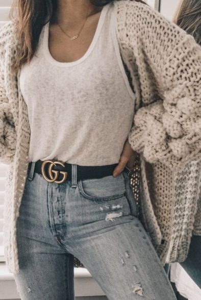 pinterest @kyliieee | gucci belt outfits for women | best outfits to wear back to school for fall