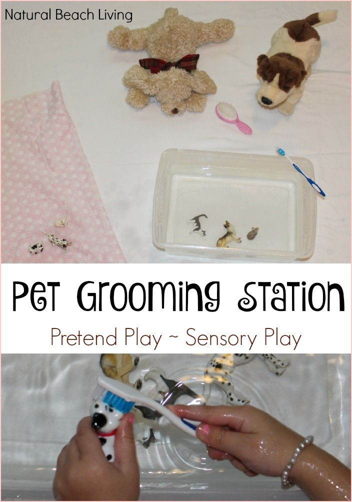 Perfect Sensory Play, Pretend Play and teaching care for animals with this Super Cute and Easy Pet Grooming Station for Kids, Love It!