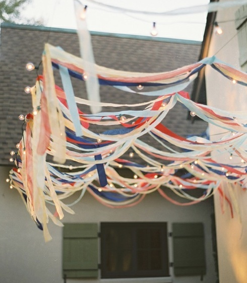 outdoor party streamers and lights!