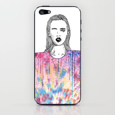 Girl with one eye by Mateusz Suda  iPhone & iPod Skin by Mateusz Suda Illustrations - $15.00