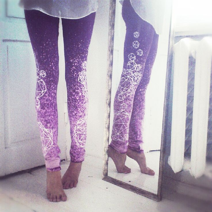Could maybe DIY a pair like this... any color with bleach in spray bottle... and def bleach pen!!! the possibilities are endless!! Dark purple leggings with light grey crystals. $45.00, via Etsy.