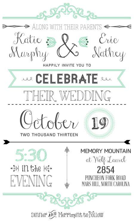 FREE downloadable wedding invitation template! #freeinvitation #weddinginvitation {ahandcraftedwedding.com}