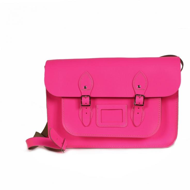 $109 Original sac Leather Satchel 12,5 de la marque BOHEMIA. Disponible en rose fluo ou jaune fluo.Indiquer la couleur voulu dans la commande.