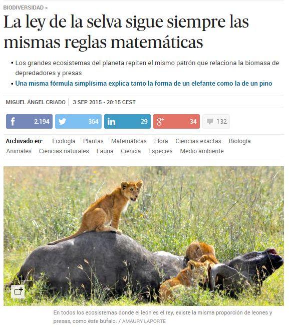 La ley de la selva sigue siempre las mismas reglas matemáticas / @materia_ciencia | #readyforbiodiversity