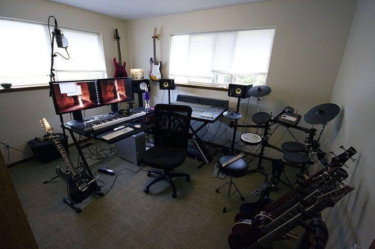 home recording studio music room has keyboard guitars