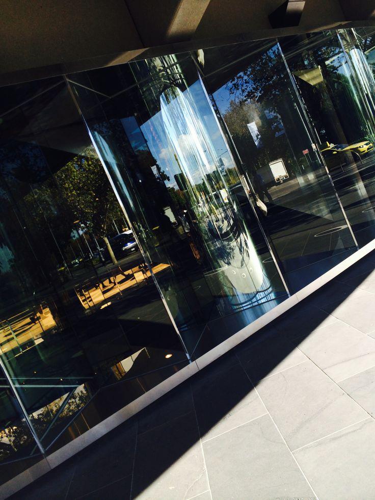 glass window of Hamer hall