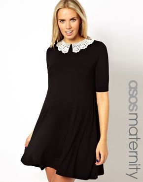 ASOS Maternity Exclusive Swing Dress With Crochet Collar