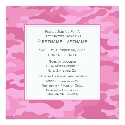 121 best military birthday party invitations images on pinterest pink camo baby shower or party card stopboris Gallery