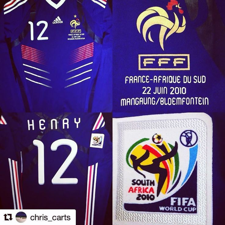 """#Repost 2010 France shirt from @chris_carts  - """"easily my most cherished shirt. Thierry Henry's match issue shirt 2010 FIFA World Cup"""". #euro2016 #france #frenchfootball #footballshirt #footballshirtcollective #worldcup #FIFA #thierryhenry #vintagefootballshirts #vintage #casuals #arsenal #football #soccer"""
