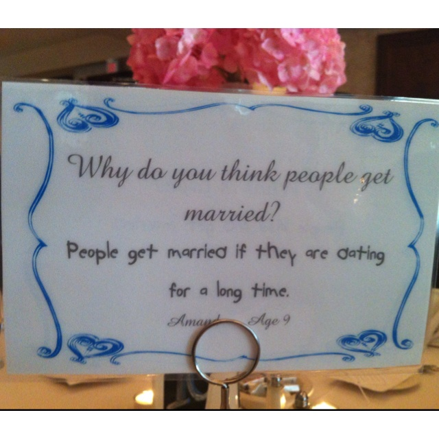 For all the teachers! A wedding we had the bride was a teacher and she asked all her students questions on marriage and love. She had them displayed at every table. Front and back had a question <3 super cute. To have your students all a part of your day.