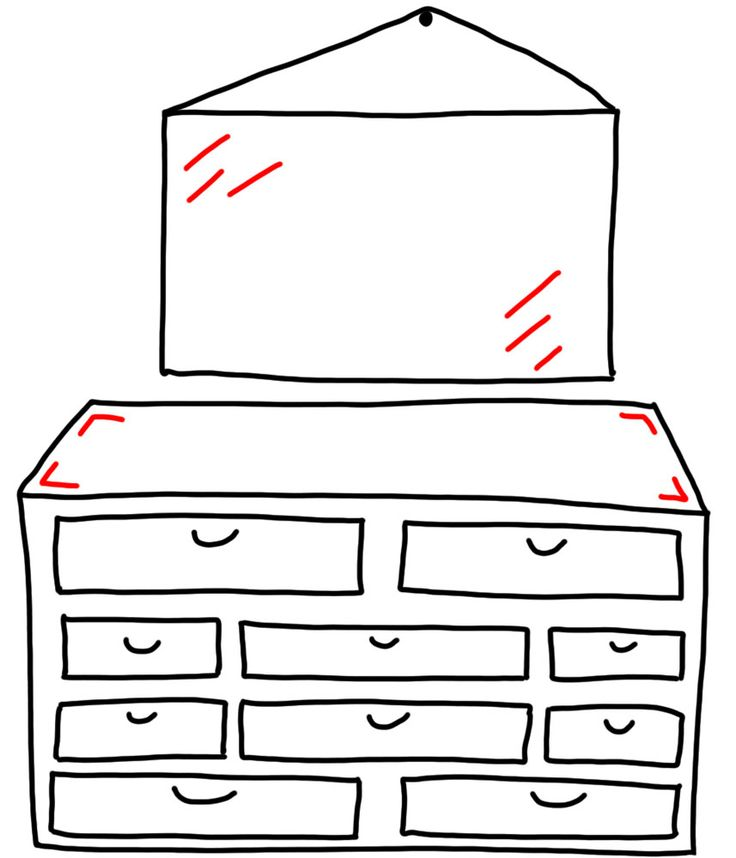 doodle doodle  dresser with a mirror
