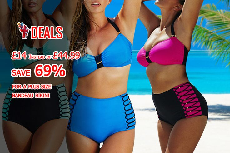 £14 instead of £44.99 (from Who Runs The World) for a plus size bandeau bikini - choose dark blue, green or pink and #save 69% http://www.grabdeals.today/uk-en/deal_detail/11916