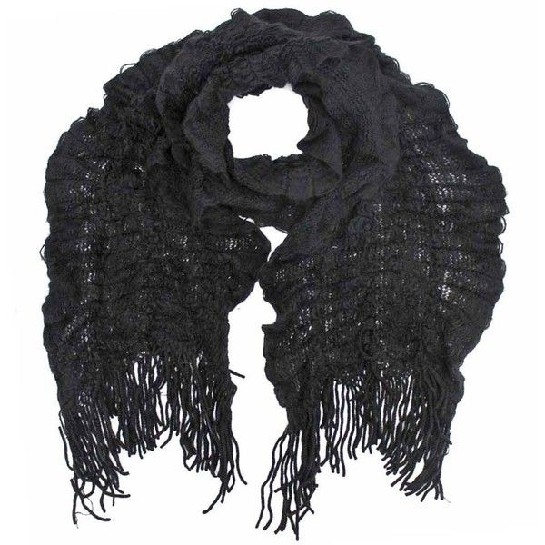 Black Crochet Light Scarf With Fringe featuring polyvore, women's fashion, accessories, scarves, black, black crochet shawl, black shawl, ruffle scarves, knit shawl and black knit shawl