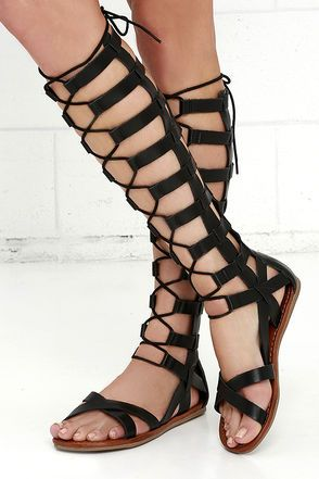 We're all lovey-dovey over the Mia Devi Black Tall Gladiator Sandals! These awesome vegan leather sandals feature a tall caged upper with full-length back zipper, and adjustable laces.