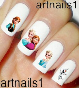Disney Frozen Nails Nail Polish Decals Anna Elsa Snow by artnails1