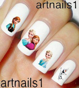 Disney Frozen Nails Nail Polish Decals Anna Elsa Snow by artnails1