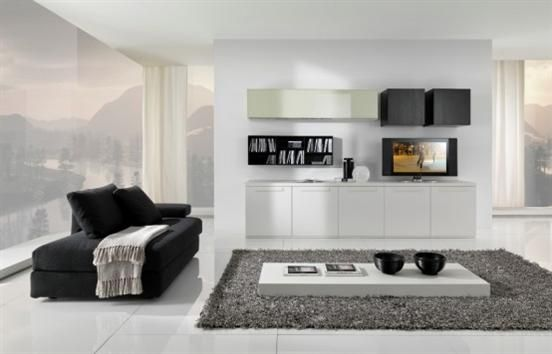 Minimalist Living room with entertainment media center