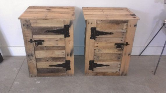 Handmade reclaimed pallet wood nightstands. More pallet patio, gardening, DIY furniture ideas and inspiration at http://pinterest.com/wineinajug/passion-for-pallets/