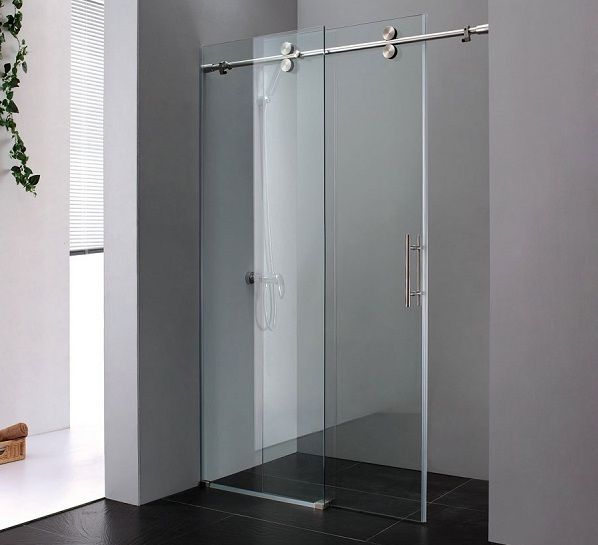 Glass barn doors minimalist bathroom with sliding for Small sliding glass doors