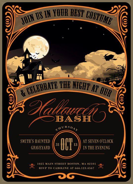 Printable Halloween Invitation In Black Orange And By Plpapers