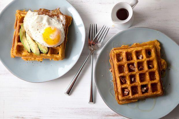 Sweet potato waffles  recipe at http://food52.com/recipes/25127-sweet-potato-waffles-sweet-or-savory