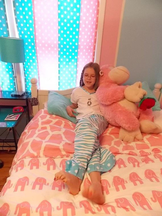Girls to Teen Blue Aqua Zebra Pajama PJ lounge set top and ...