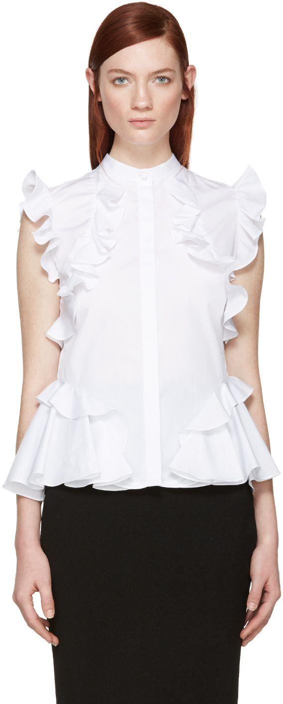 Alexander Mcqueen: White Poplin Ruffled Shirt | SSENSE