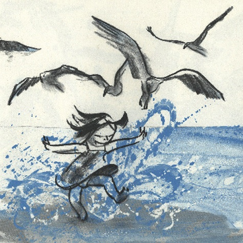 Imagine from book titled, Wave by Suzy Lee