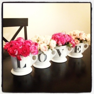 Valentine flowers on my dining room table!