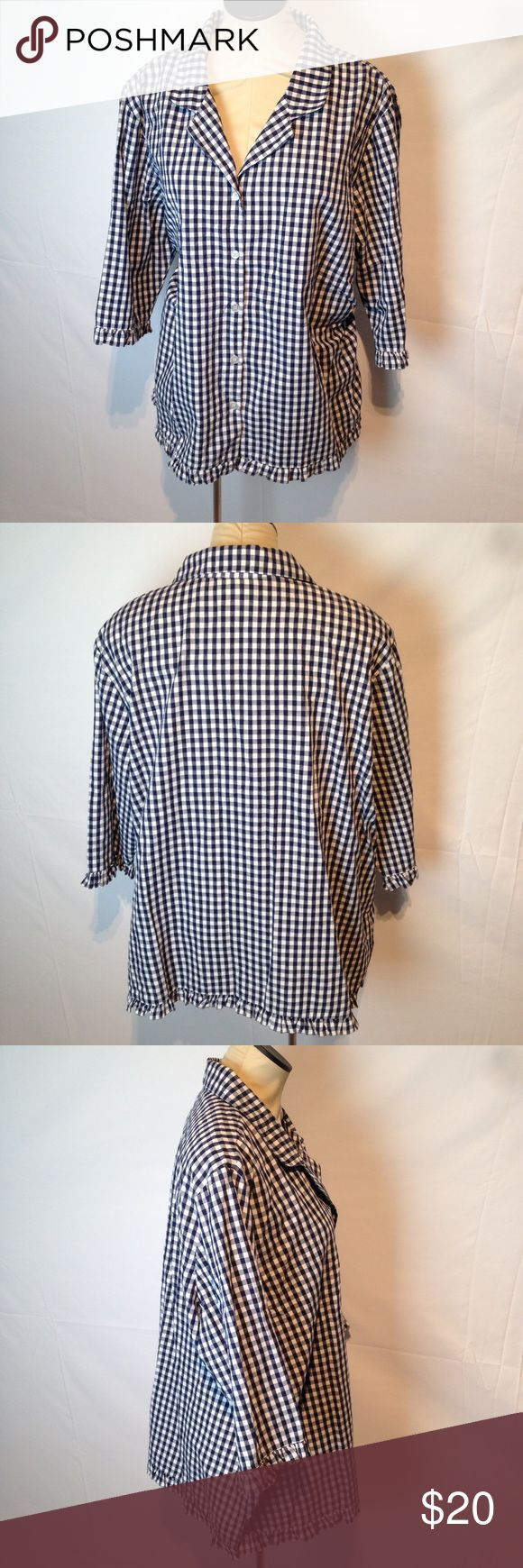 Blue gingham button down shirt Super cute blue gingham shirt with ruffle trim. D. & Co.  Tops Button Down Shirts