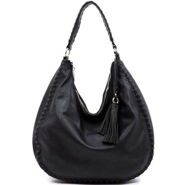 (pre-order) Black Faye Stitched Hobo Bag ($60) ❤ liked on Polyvore featuring bags, handbags, shoulder bags, tassel handbag, vegan purses, hobo shoulder bags, vegan leather purses and tassel purse