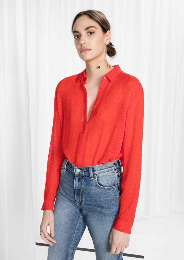 Other Stories Sheer Silk Blouse in Red