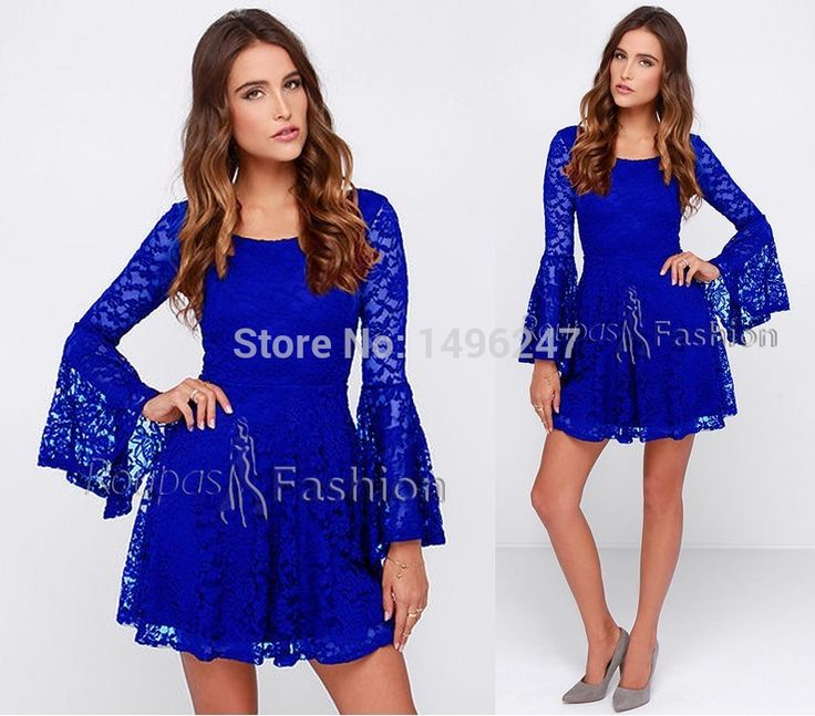 Royal Blue Long Sleeve Lace Cocktail Party Dresses Women Short Dress For Wedding Party  New Arrival Special Occasion Gowns