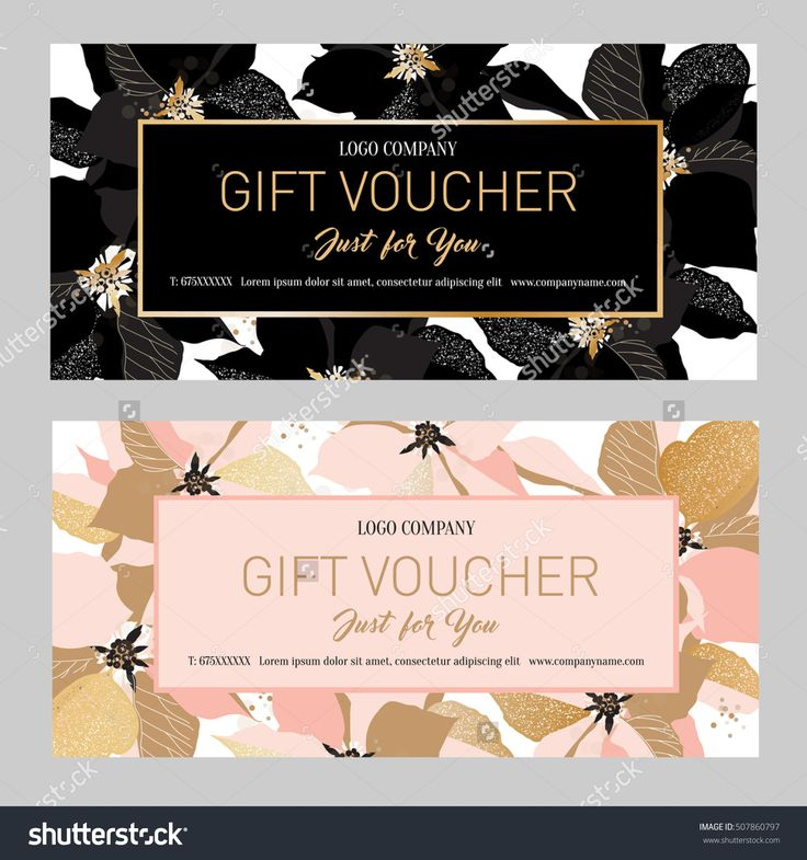 Gift Premium Certificate. Gift card. Gift voucher. Coupon template.  Background for the invitation, shop, beauty salon, spa. Black and pink poinsettia on a white background.