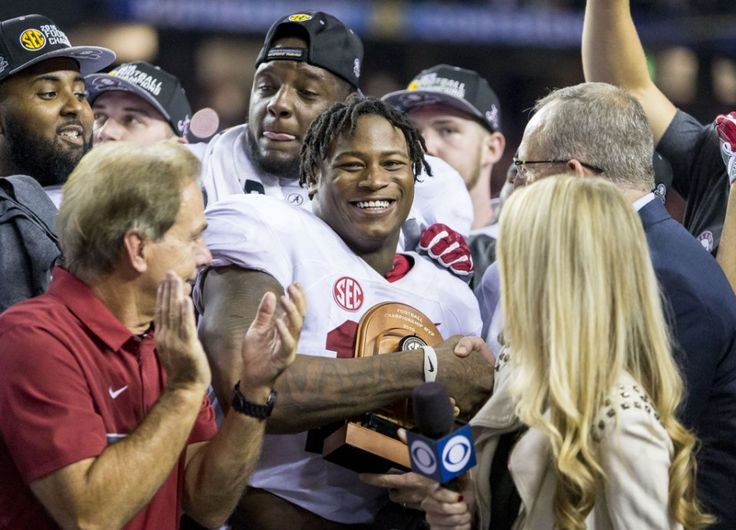 Alabama linebacker Reuben Foster (10) is awarded the MVP trophy during the celebration postgame in the Alabama vs. Florida SEC Championship football game, Saturday, Dec. 3, 2016, at the Georgia Dome in Atlanta, Ga. Alabama won 54-16 to take the 2016 champsionship. Vasha Hunt/vhunt@al.com  | Alabama is IN ..... at #1 #CFP  #CFPlayoff #Alabama #RollTide #Bama #BuiltByBama #RTR #CrimsonTide #RammerJammer