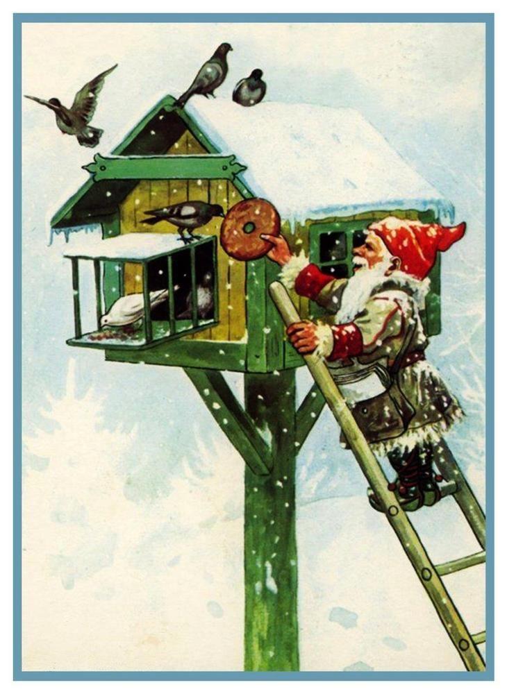 Elf Gnome  Feeding Birds House Jenny Nyström Counted Cross Stitch Chart Pattern