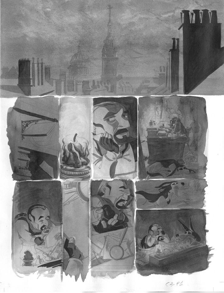 Página 1 c3: tinta aguada sobre dibujo a lápiz en papel Dina3: 300 € David Belmonte ©