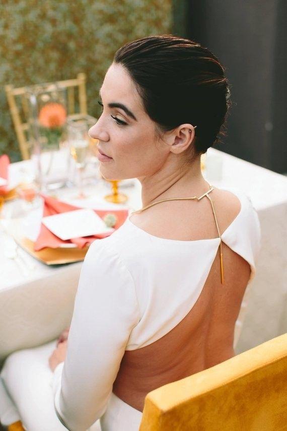 Cheyne by Houghton wedding dress and Jefferson NYC Meridian Necklace (www.jefferson-nyc.com)