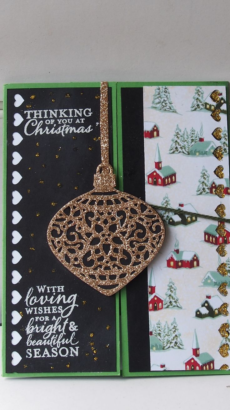 I just love the new Christmas Dies from the latest Stampin' Up  Holiday catalogue. the closure is a piece of string that wrapped around a icicle that i put on the back with a brad. (this is the idea I saw from Debbie/Julie)