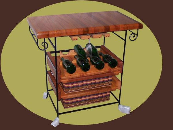 Small Wine Unit with two basket drawers. This unit has a mahogany 19 x 36 top with two towel bars and one wine shelve that holds 7 bottles of wine. It also has slides for your wine, martini, or goblet glasses. You choose what you want for example more wine shelves less baskets. Dream yours today and we can make it a reality!