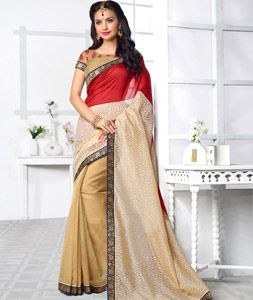 Buy Red Silk Brasso Saree With Blouse 74917 with blouse online at lowest price…