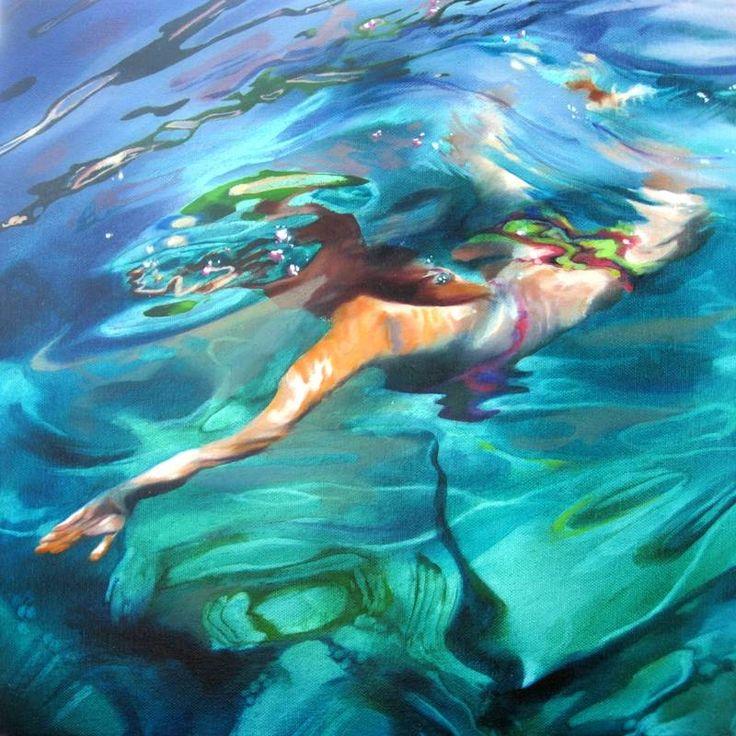 Sarah Harvey - Croatia Green 1: Water Paintings, Oil Paintings, Underwater Painting, Croatia Green, Harvey Painting, Inspire, Artistic Water