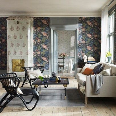 Discover modern living room design ideas on HOUSE - design, food and travel by House & Garden. The Brunnsnäs wallpaper from Sandberg is a modern interpretation of a traditional floral.