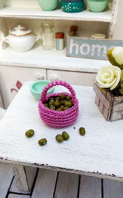 Miniature basket  dollhouse crochet basket  1 12 by DewdropMinis