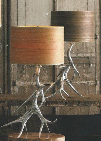 Roost Aluminum Antler Lamp Bases & Wood Veneer Shades