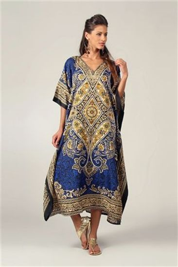 Blue Printed Long Kaftan