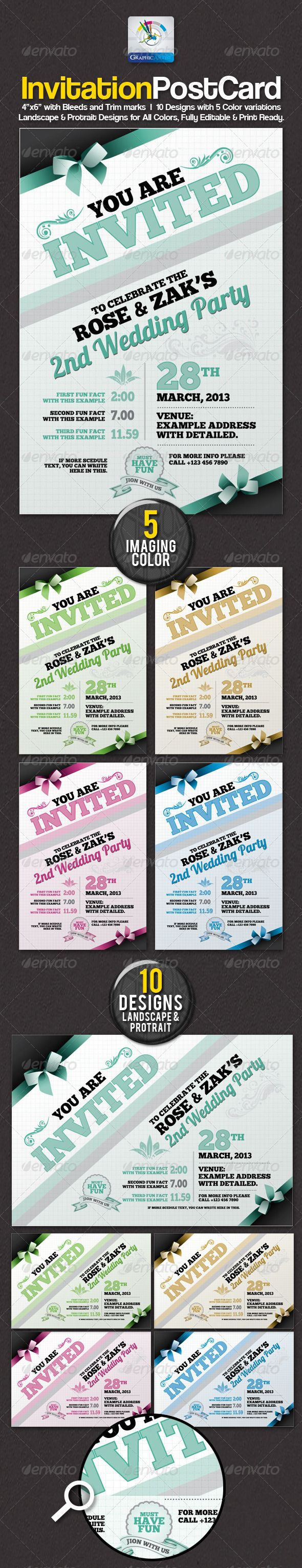 formal business invitation card sample%0A Buy Modern Invitation Postcard Sets by GraphicArtist on GraphicRiver   Modern Invitation Postcard Sets Ideal for Multipurpose Use print dimension