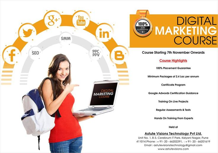 CERTIFICATION IN ADVANCED DIGITAL MARKETING  100 % Job Guaranteed Placement with Starting Salary @20K+ Per Month  BY ASTUTE VISIONS TECHNOLOGY PVT. LTD AT KALYANI NAGAR, PUNE  FOR MORE DETAILS PLEASE CHECK #BROCHURE OR CONTACT US AT :Mob No. +91 9960775432 Or Available on Whats app Also.........................................  #ADVANCED      #DIGITAL    #MARKETING