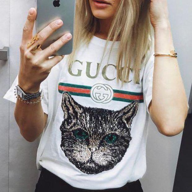 ab08ffb0 GUCCI 2018 Catwalk Model T-Shirt Embroidery Sequin Cat Shirt Tunic ...